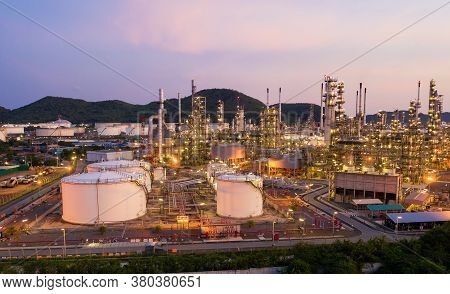 Aerial View Drone Of Oil Storage Tank With Oil Refinery Factory Industrial. Oil Refinery Plant At Be