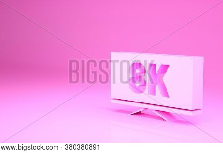 Pink Screen Tv With 8k Ultra Hd Video Technology Icon Isolated On Pink Background. Minimalism Concep