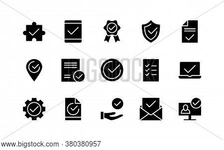 Decision Approved Silhouette Icons With Check Marks. Document Confirmation. List Of Accepted Agreeme