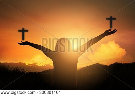 Christian Human Hands Open Palm Up Worship Hope. Eucharist Therapy Bless God Helping Repent Catholic