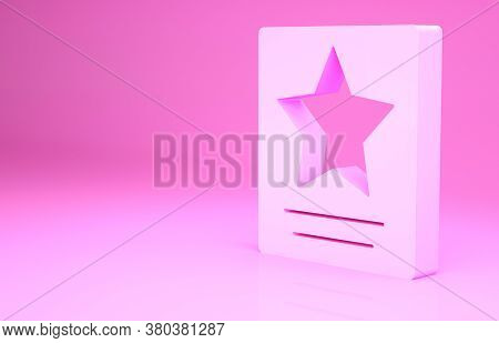 Pink Hollywood Walk Of Fame Star On Celebrity Boulevard Icon Isolated On Pink Background. Famous Sid