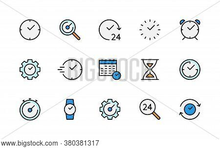 Time And Clock Color Linear Vector Icons Set. Time Management. Alarm Clock, Timer, Speed, Clock, Sto