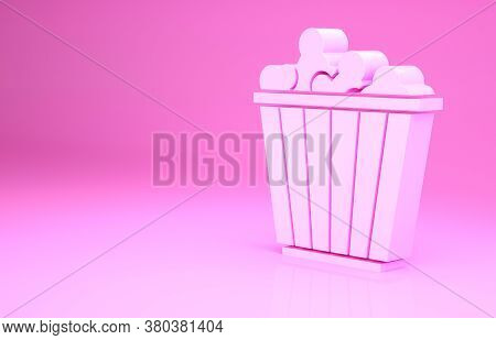 Pink Popcorn In Cardboard Box Icon Isolated On Pink Background. Popcorn Bucket Box. Minimalism Conce
