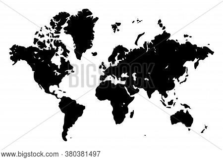 World Map Template On A White Background. Continents Europe Asia Australia North And South America.