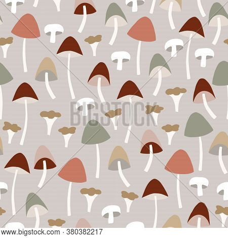 Seamless Pattern With Various Colorful Whole And Cut Mushrooms. Agaric, Chanterelle And Galerina Fun