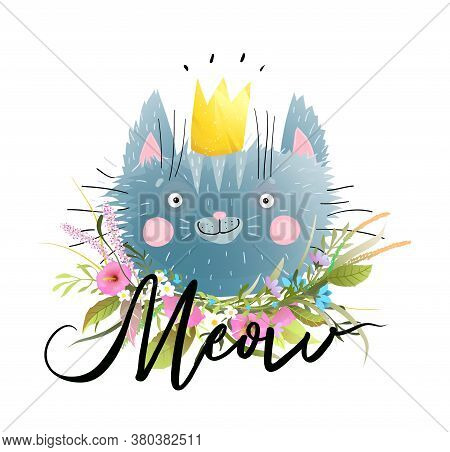 Cat Vector Illustration With Hand Drawn Meow Lettering Design. Cute Little Kitten Head Cartoon In Wa