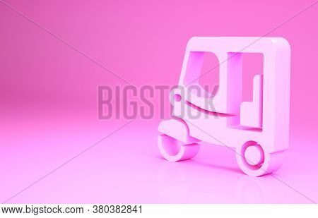 Pink Taxi Tuk Tuk Icon Isolated On Pink Background. Indian Auto Rickshaw Concept. Delhi Auto. Minima