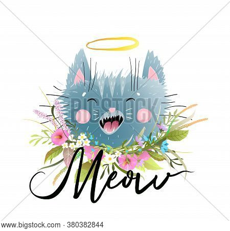 Cat Vector Illustration With Hand Drawn Word Meow Lettering Design. Cute Little Kitten Head Cartoon