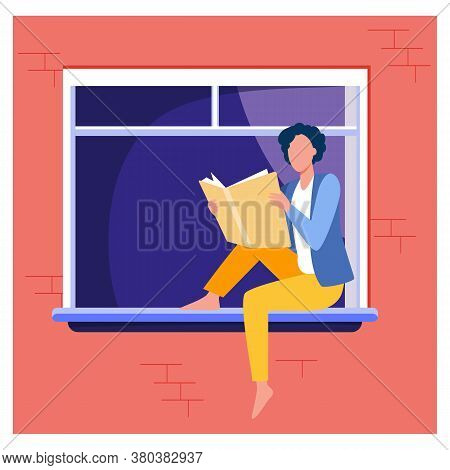Young Woman Reading Book On Windowsill. Girl Enjoying Novel, Student Doing Home Task Flat Vector Ill