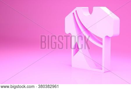 Pink Indian Man Dress Traditional Hindu Clothes With Long Shirt Icon Isolated On Pink Background. Mi
