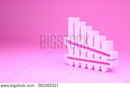 Pink Pan Flute Icon Isolated On Pink Background. Traditional Peruvian Musical Instrument. Zampona. F