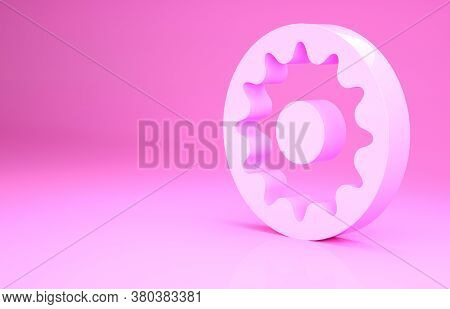 Pink Chakra Icon Isolated On Pink Background. Minimalism Concept. 3d Illustration 3d Render