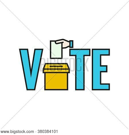 Vote Vector Icon. Election Template With Ballot Box And Ballot Paper.