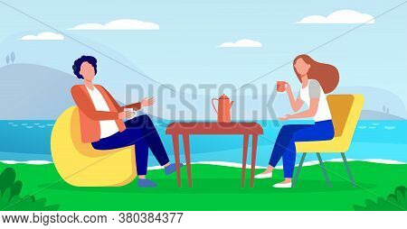 Young Couple Drinking Coffee On Lake Shore. Couple Man And Woman Dating Outdoor Flat Vector Illustra
