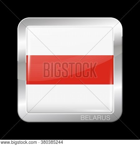 Belarus. Historical White-red-white Flag. Glossy And Metal Icon Square Shape. Vector Button