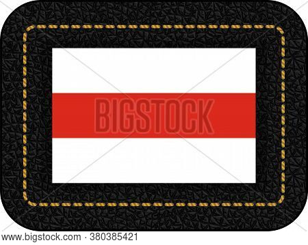 Belarus. Historical White-red-white Flag. Vector Icon On Black Leather Backdrop