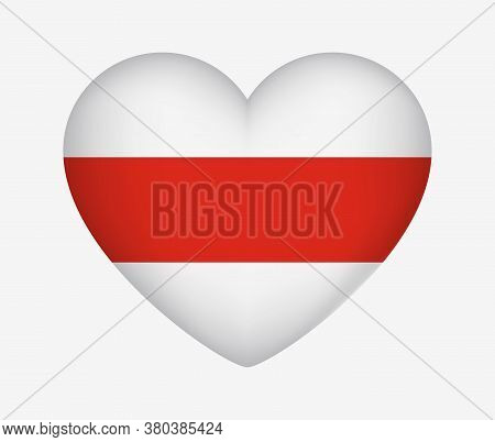 Belarus. Heart Shaped Historical Flag. White-red-white. I Love My Country. Vector Isolated Illustrat