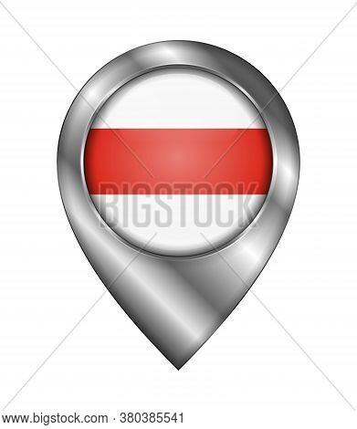Belarus. Historical White-red-white Flag. Vector Sign And Icon. Location Symbol Shape. Silver. Isola