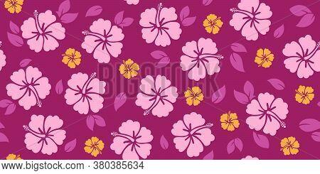 Repeating Hibiscus Pattern | Seamless Tropical Design | Vector Tiki Print | Hawaiian Style