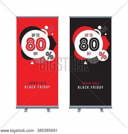 Black Friday Roll Up Banner Design. Horizontal Sale Poster Black And Red. Black And Red Banner Desig