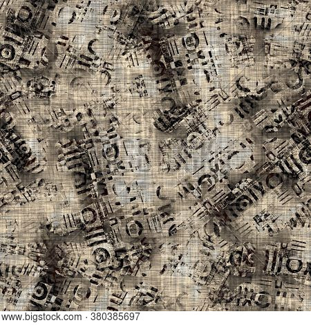 Seamless Sepia Grunge Mottled Print Texture Background. Worn Distressed Old Pattern Textile Fabric.