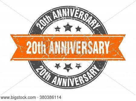 20th Anniversary Round Stamp With Orange Ribbon. 20th Anniversary