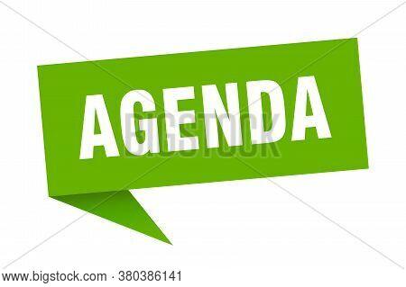 Agenda Speech Bubble. Agenda Sign. Green Banner