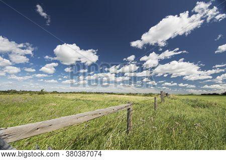 Prairie Landscape In Northern Alberta Over Natural Grasslands.