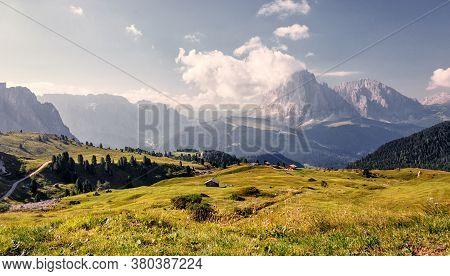 Wonderfu Alpine Countryside In Sunny Day, Awesome Alpine Highlands In Summer. Amazing Nature Scenery