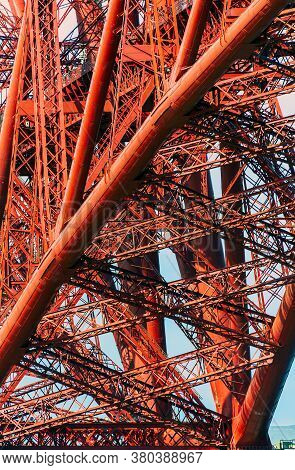 Edinburgh, United Kingdom - 04 19 2014: The Metal Structure Of Tubes, Girders And Beams Of The Forth