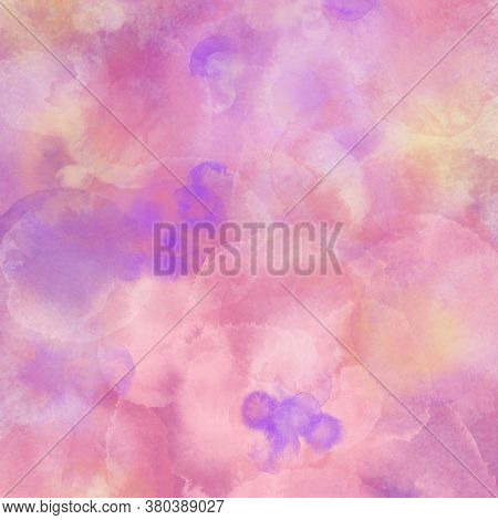 Purple-pink Drops, The Effect Of Wet Watercolor. Drawing For Wrapping Paper. Abstract Pastel Pattern