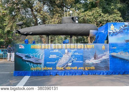 Kolkata, West Bengal, India - 26th January 2020 : Indian Navy Displaying Model Submarine, In Republi
