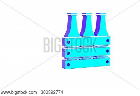 Turquoise Pack Of Beer Bottles Icon Isolated On White Background. Wooden Box And Beer Bottles. Case
