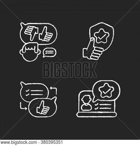 Social Communication Chalk White Icons Set On Black Background. Decision Making, Reliability, Critic