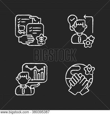 Business Skills Chalk White Icons Set On Black Background. Professional Competence. Selling Skills,