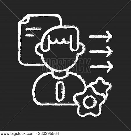 Brevity And Clarity Chalk White Icon On Black Background. Professional Competence, Soft Skills Devel