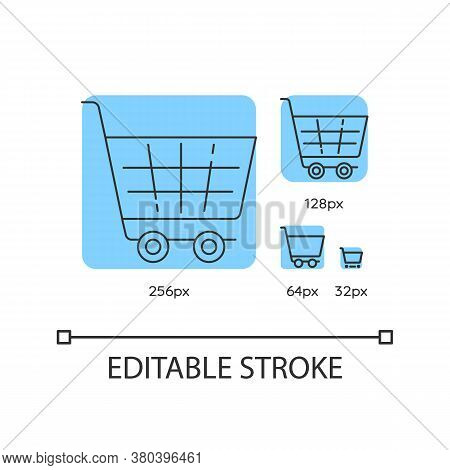 Shopping Cart Blue Linear Icons Set. Supermarket Trolley. Online Shop Purchase. Thin Line Customizab