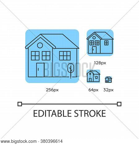 Home Blue Linear Icons Set. Residential House Mortgage. Real Estate Insurance Coverage. Thin Line Cu