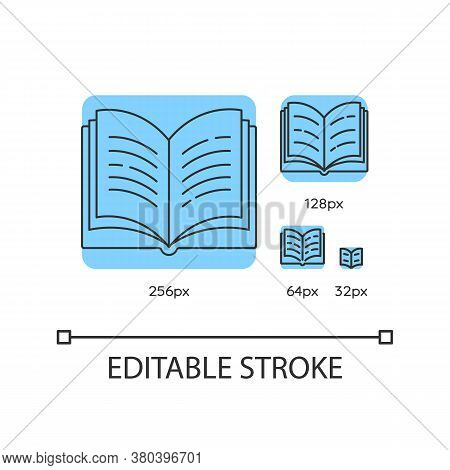 Open Book Blue Linear Icons Set. Dictionary Page. Notebook And Textbook. Students Diary. Thin Line C