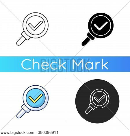 Discovery Icon. Magnifying Glass With Checkmark. Research Completed. Zoom With Loupe. Find Informati
