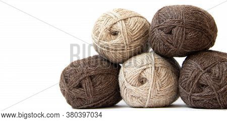 Wool Yarns For Knitting. Wool Thread For Knitting. Own Hand. Knitting And Needlework. Yarns For A Sc