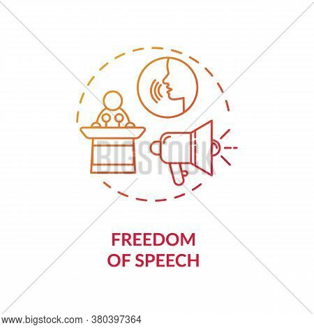 Freedom Of Speech Concept Icon. Fundamental Human Right Idea Thin Line Illustration. Freedom Of Expr