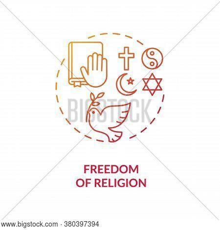 Freedom Of Religion Concept Icon. Religious Coexistence Idea Thin Line Illustration. Fundamental Hum
