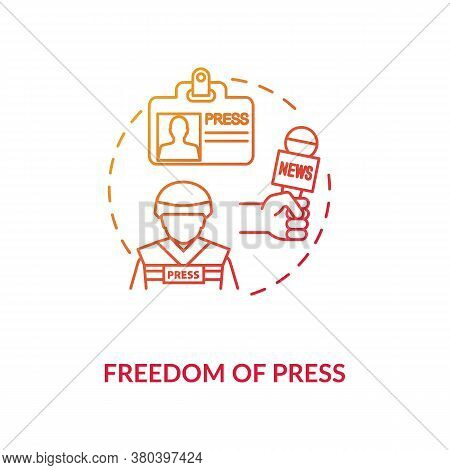 Freedom Of Press Concept Icon. Freedom Of Media And Communication Idea Thin Line Illustration. First