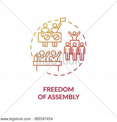 Freedom Of Assembly Concept Icon. Peaceful Mass Protest Freedom Idea Thin Line Illustration. Demonst