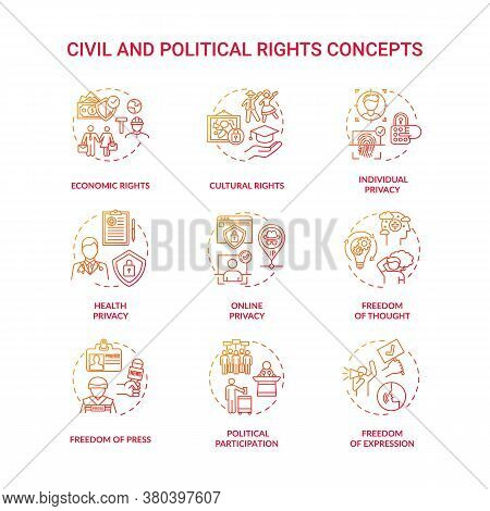 Civil And Political Rights Concept Icons Set. Fundamental Human Rights Idea Thin Line Rgb Color Illu