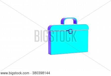 Turquoise Briefcase Icon Isolated On White Background. Business Case Sign. Business Portfolio. Minim