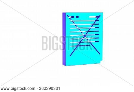 Turquoise Exam Paper With Incorrect Answers Survey Icon Isolated On White Background. Bad Mark Of Te