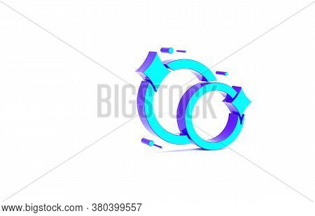 Turquoise Washing Dishes Icon Isolated On White Background. Cleaning Dishes Icon. Dishwasher Sign. C