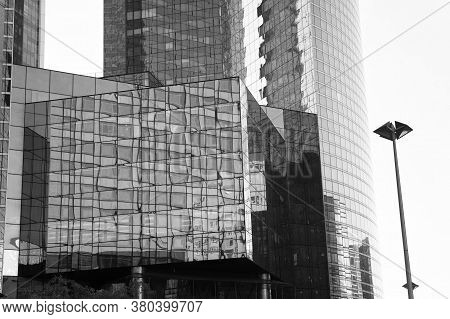 Downtown Concept. Business Centre. Glass Facade Skyscrapers. Architecture And Structure. Reflecting